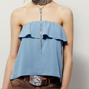 FP INTIMATELY Blue Ruffle Strapless Tube Top